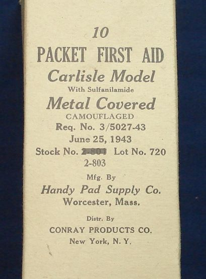 US WW2 Field Dressing Carlisle Bandage in Sealed Tin - Original