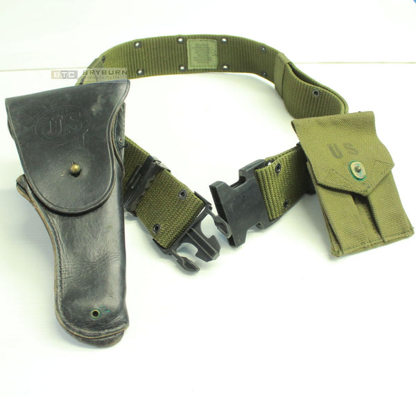 US M1911 Leather 45 Holster Set with LARGE LC-2 Belt & Mag Pouch - Original