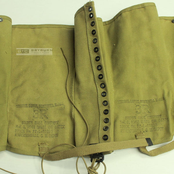 US Army WW2 M1938 Khaki Canvas Leggings - Original 1942