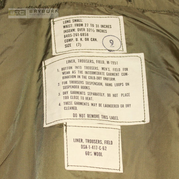 US M1951 Korean War Cold Weather Trouser Liner- Genuine US Issue - Unissued