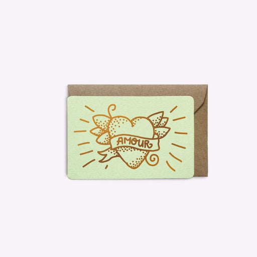 MINI CARTE « LOVE TATTOO PISTACHE par LES EDITIONS DU PAON • bureau, coeur, courrier, france,