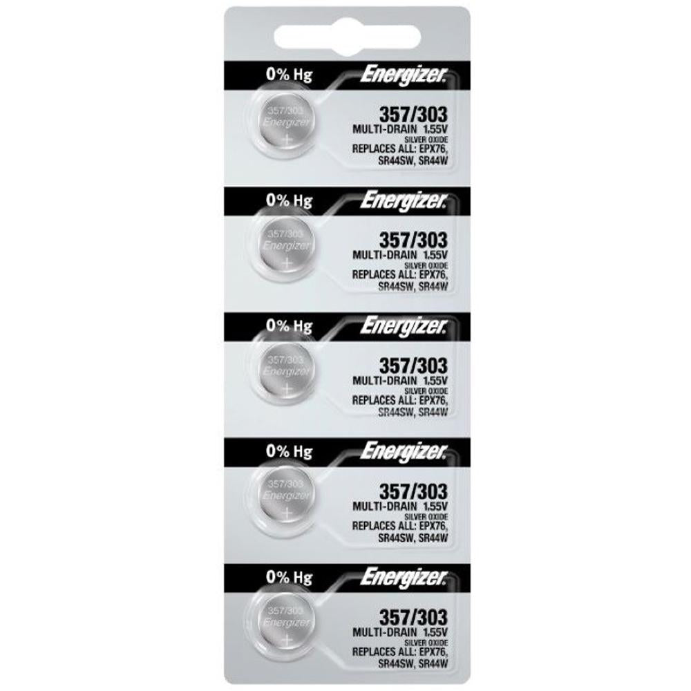 Energizer 357/303 Silver Oxide Button Cell, 1.55V Multi-Drain - Tear Strip of 5