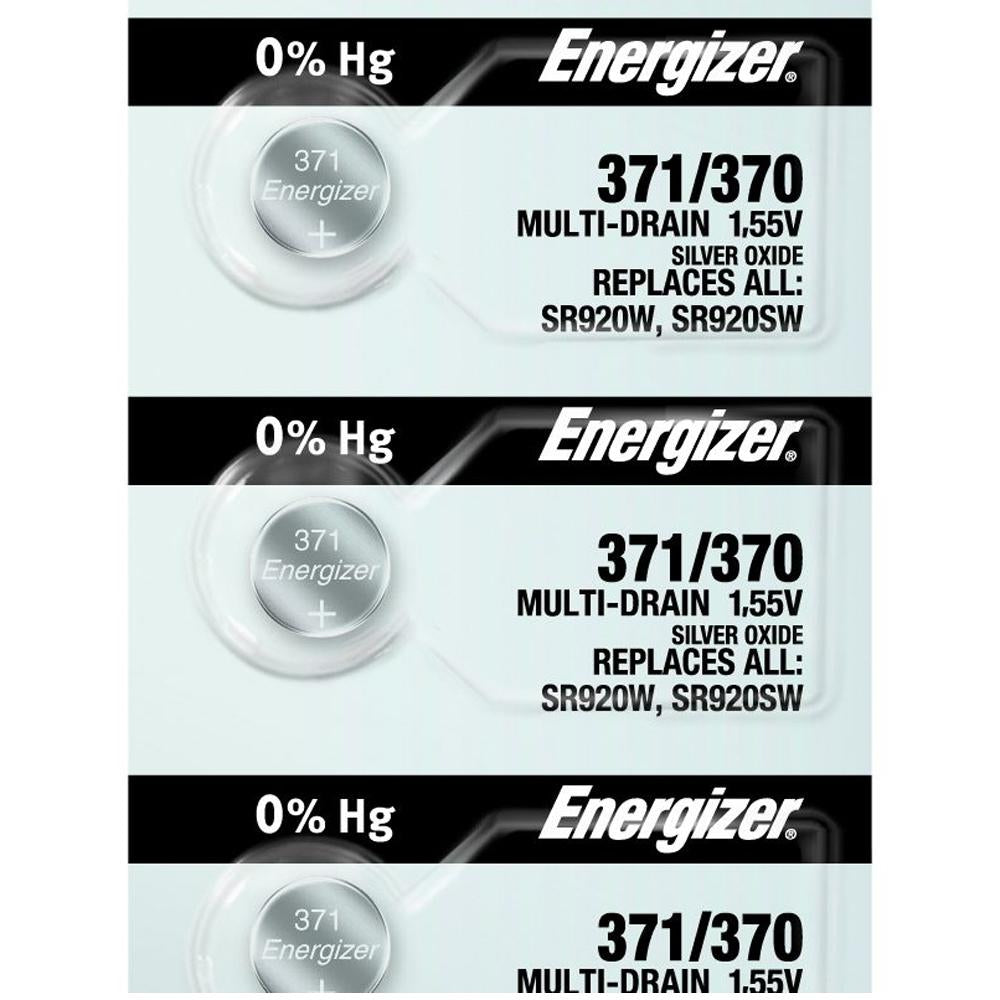 Energizer 371/370 Silver Oxide Button Cell, 1.55V Multi-Drain - Tear Strip of 5