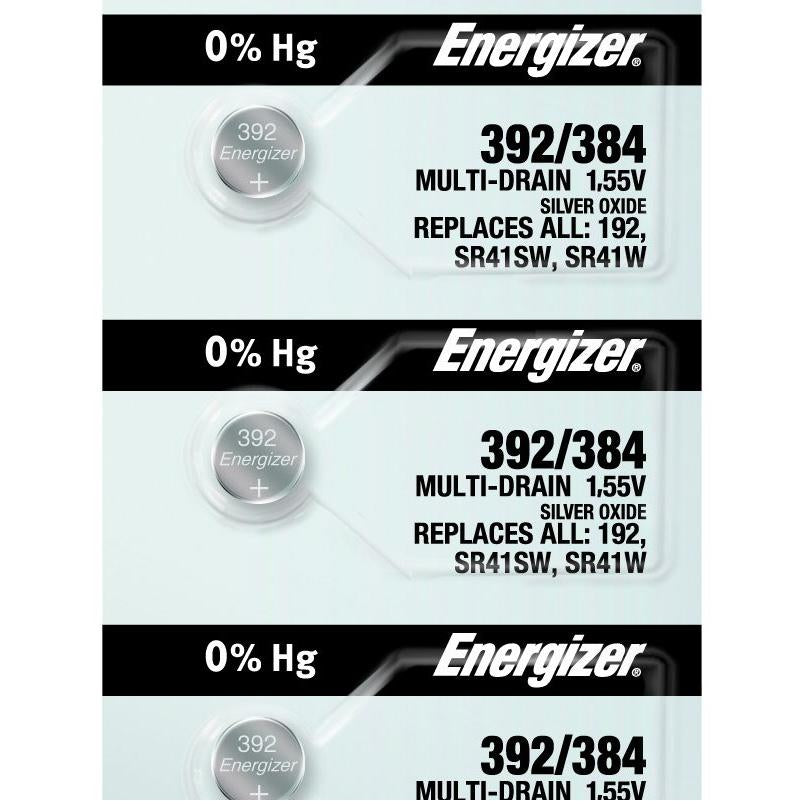 Energizer 392/384 Silver Oxide Button Cell, 1.55V Multi-Drain - Tear Strip of 5