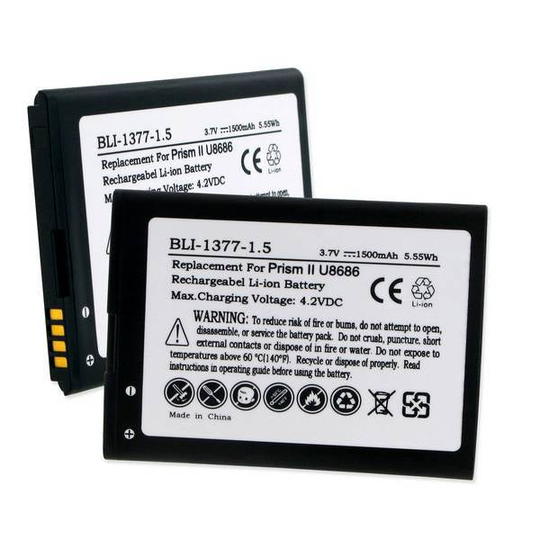 Cell Phone Battery - HUAWEI PRISM II U8686 HB4W1H 3.7V 1500mAh LI-ION BATTERY  / BLI-1377-1.5 / CEL-U8686