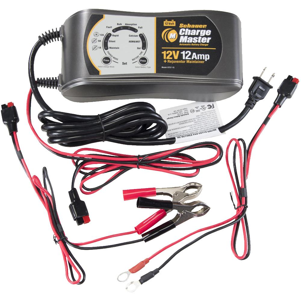 Schauer 12V 1/8/12A Multi-Stage Smart Charger / Conditioner / Rejuvenator / Maintainer 115VAC Clips & Ring Terminals