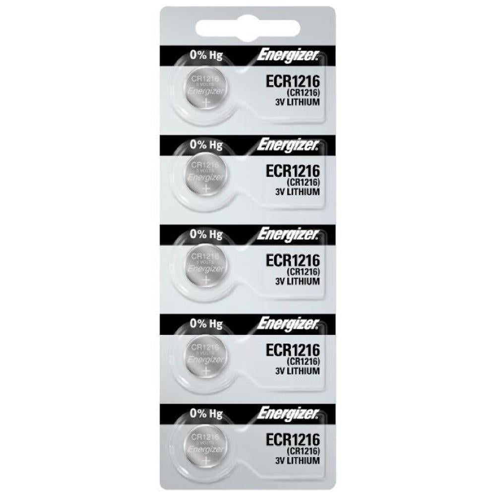 Energizer 1216 Lithium Coin Cell, 3V - Tear Strip of 5