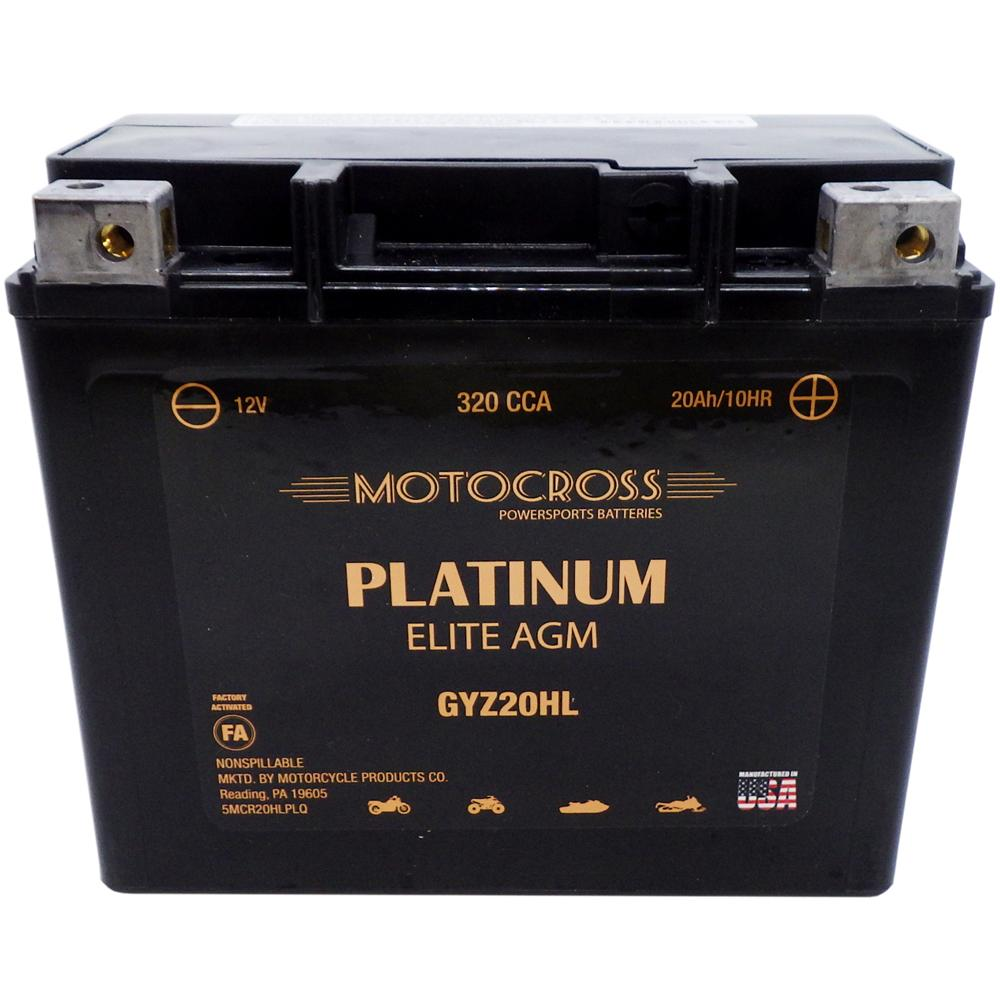 GYZ20HL High Performance 12V AGM MC Battery, FA, 20 AH, 320 CCA  M720GH