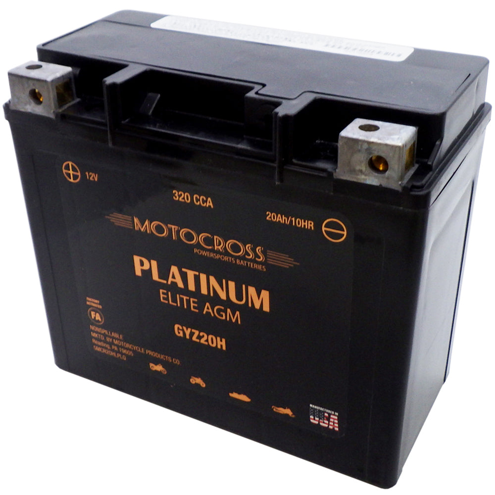 GYZ20H High Performance 12V AGM MC Battery, FA, 20 AH, 320 CCA  M72RGH