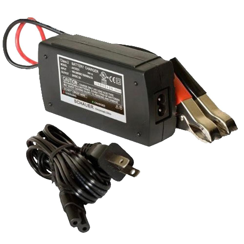 Schauer 24V 2A Fully Automatic Electronic Charger / Float Standby - Universal Input 90-240VAC - Battery Clips