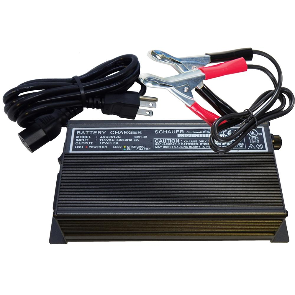 Schauer JAC0512-C 12V 5A Fully Automatic Electronic Charger / Float Standby - 115VAC - Battery Clips