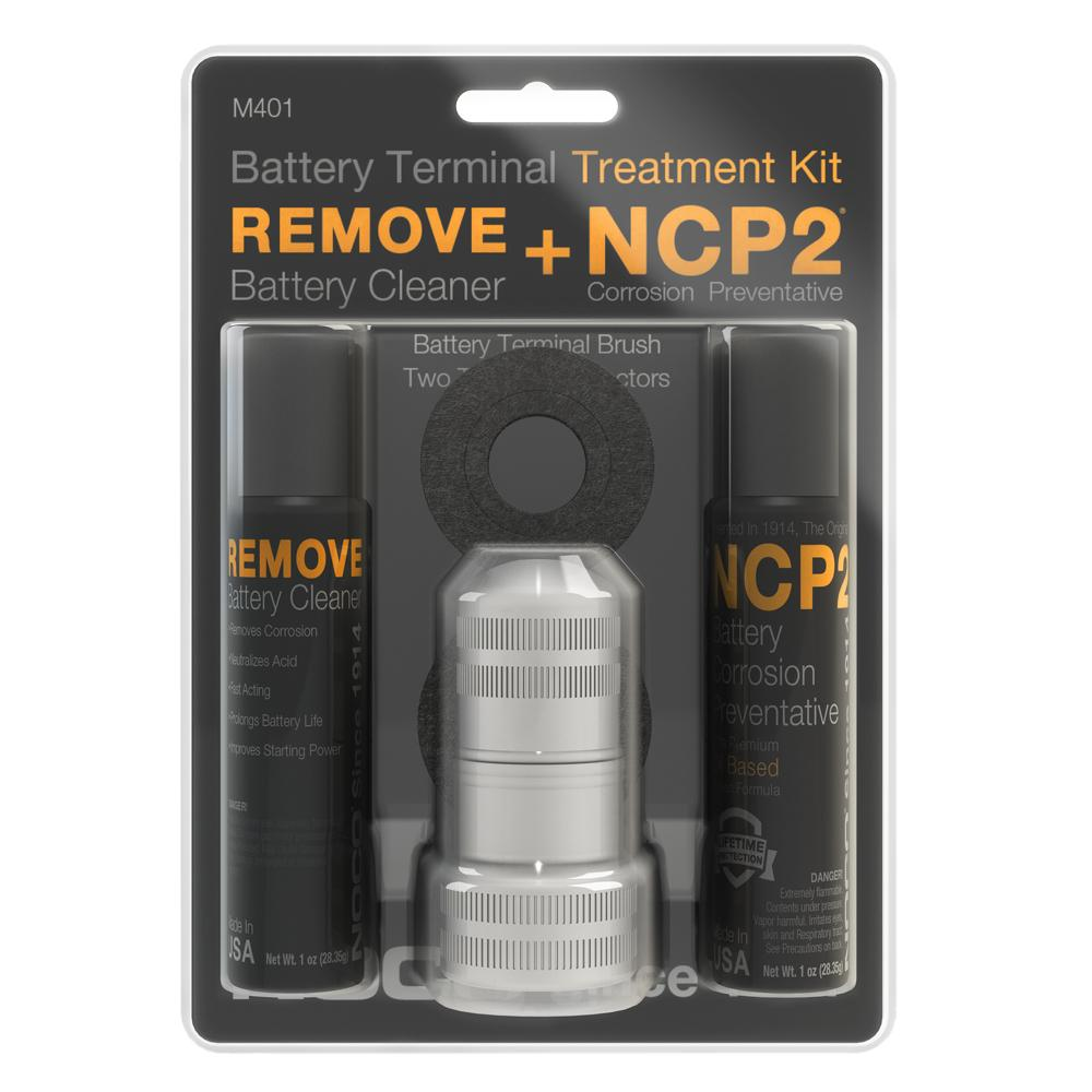 Battery Terminal Cleaning Kit - Includes Remove Battery Cleaner, NCP2 Battery Corrosion Preventative, Battery Terminal Brush, and NCP2 Battery Terminal Protectors