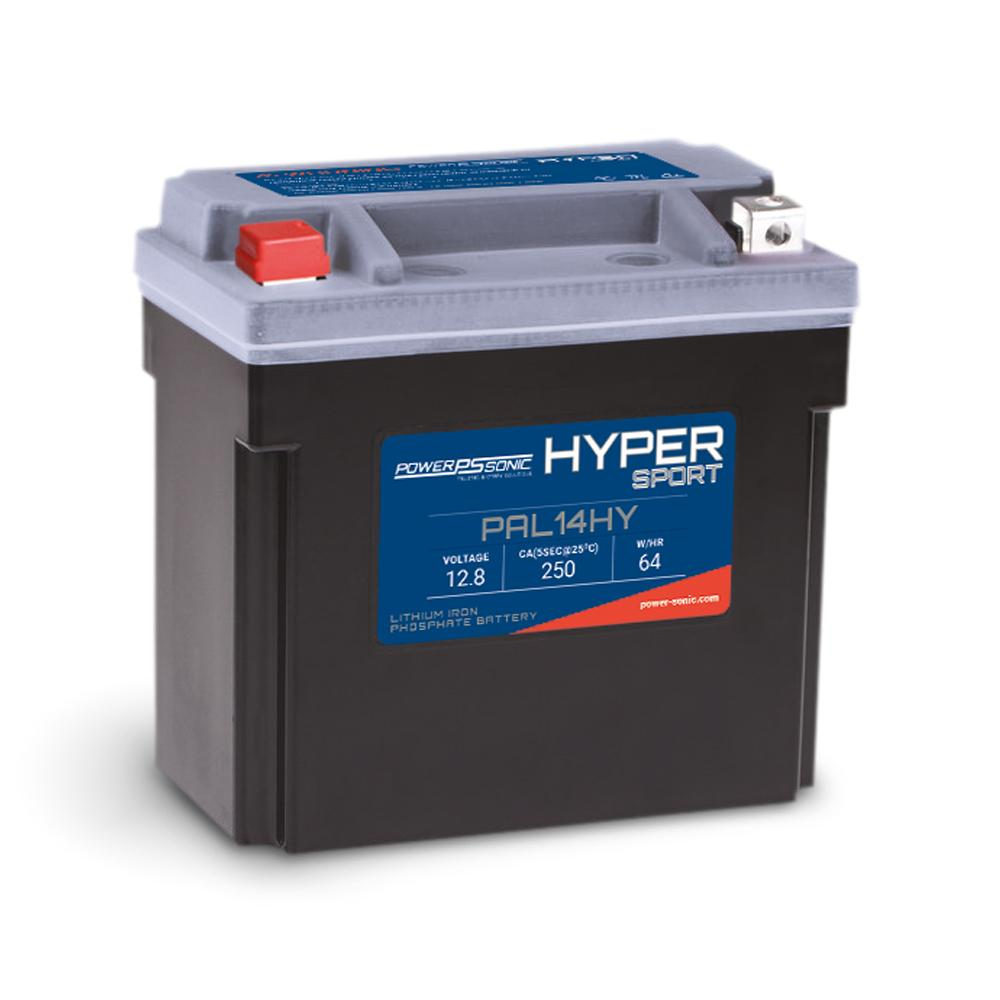 PowerSonic Hyper Sport LiFePO4 Battery - 12.8V 250CA 8Ah-16Ah  Replaces YTX14-BS
