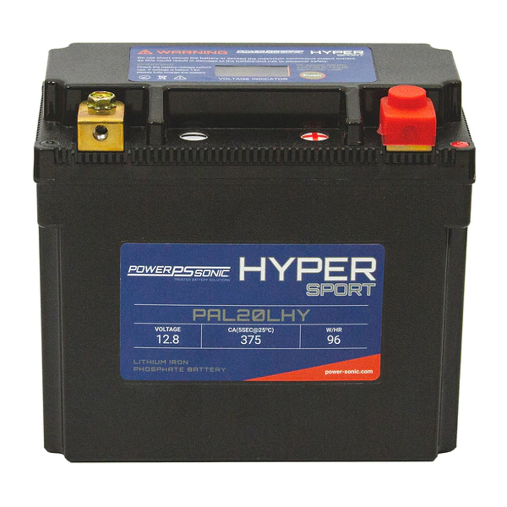 PowerSonic Hyper Sport LiFePO4 Battery PAL20LHY - 12.8V 375CA 16Ah-24Ah  Replaces YB16L-B  YB16CL-B  YB16HL-A-CX  YB18L-A  YTX20  YTX20L  YTX20L-BS