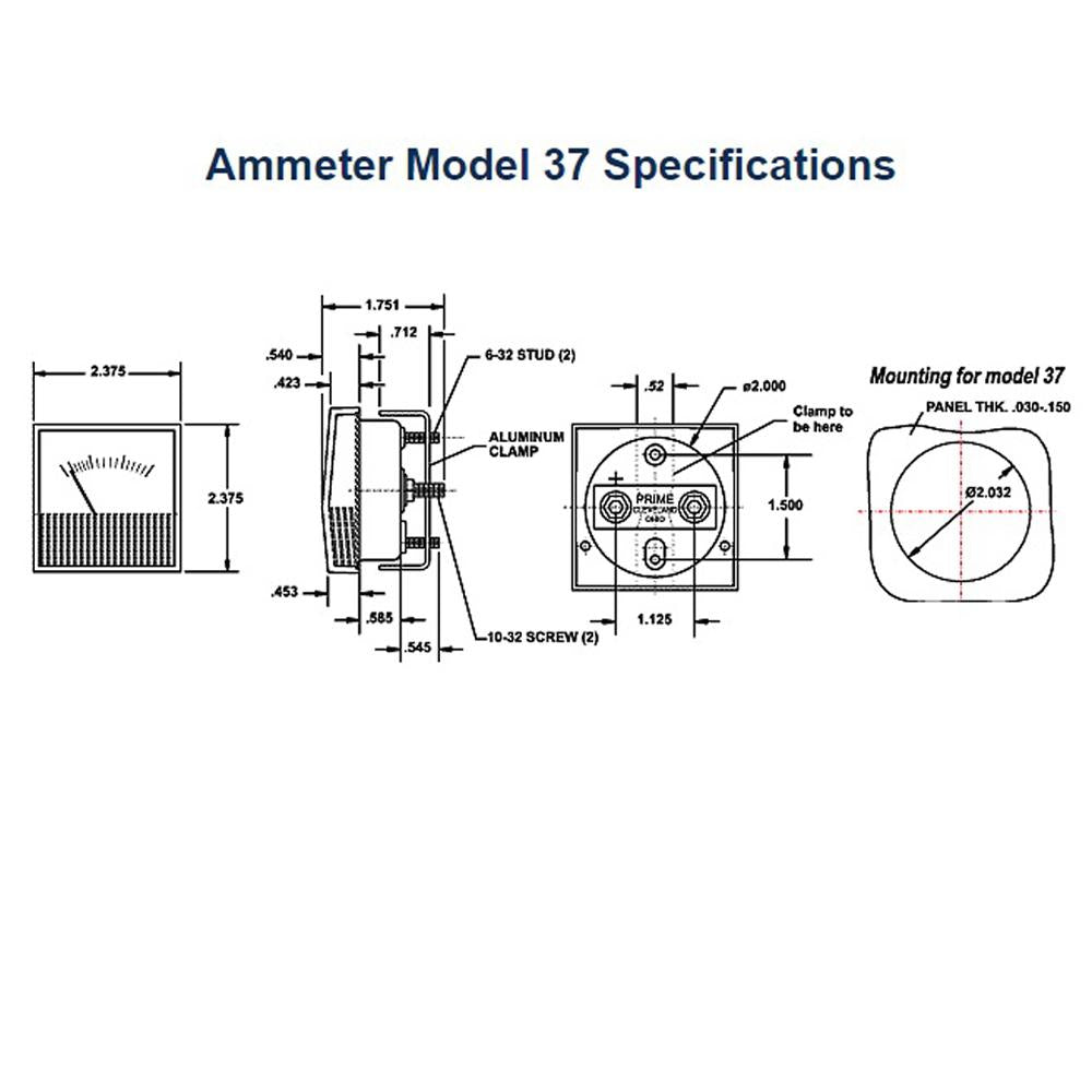 Amp Meter 0-200A Clamp-Mount - Requires External Shunt PRM-138