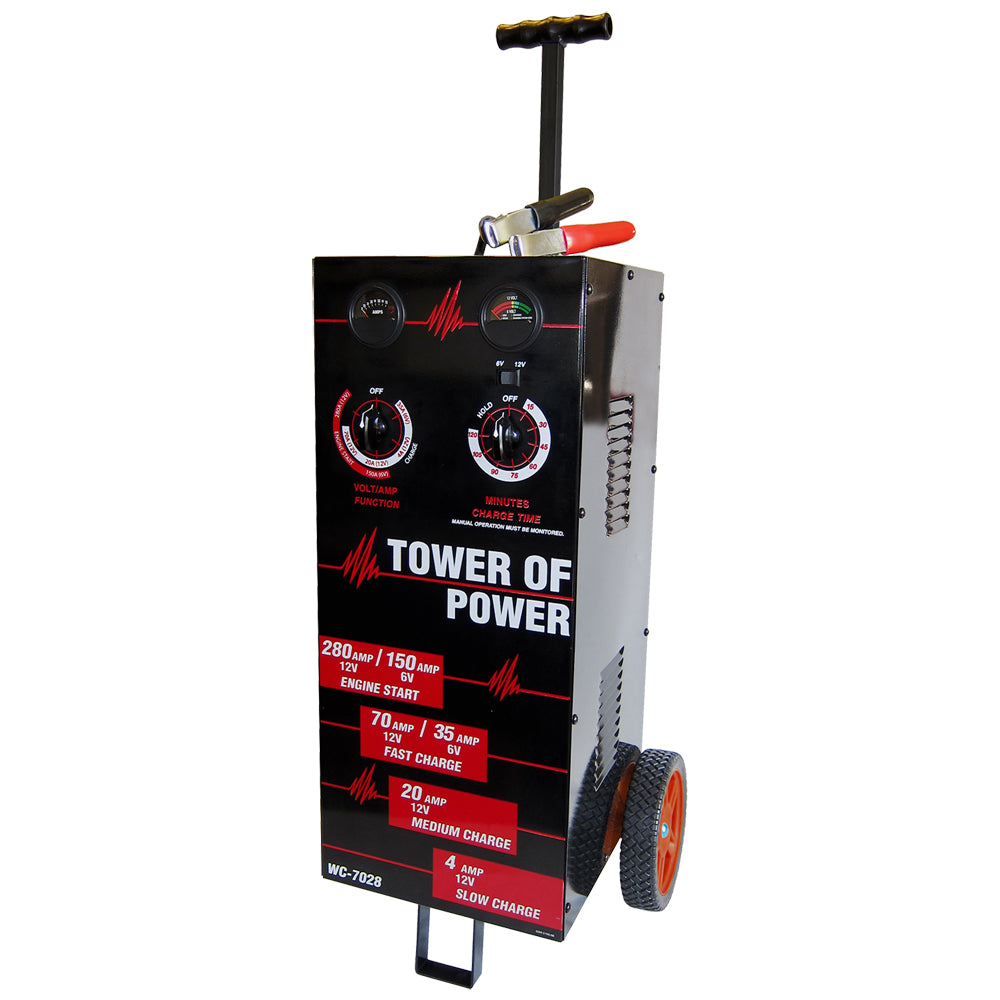 "AutoMeter ""Tower of Power"" Wheel Charger, 6/12V Manual  70A, 30A, 4A, 280A Boost - WC-7028"