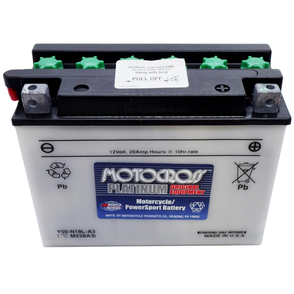 Y50-N18L-A3 High Perf Conv 12V MC Battery, Dry Charged 20 AH, M228A3