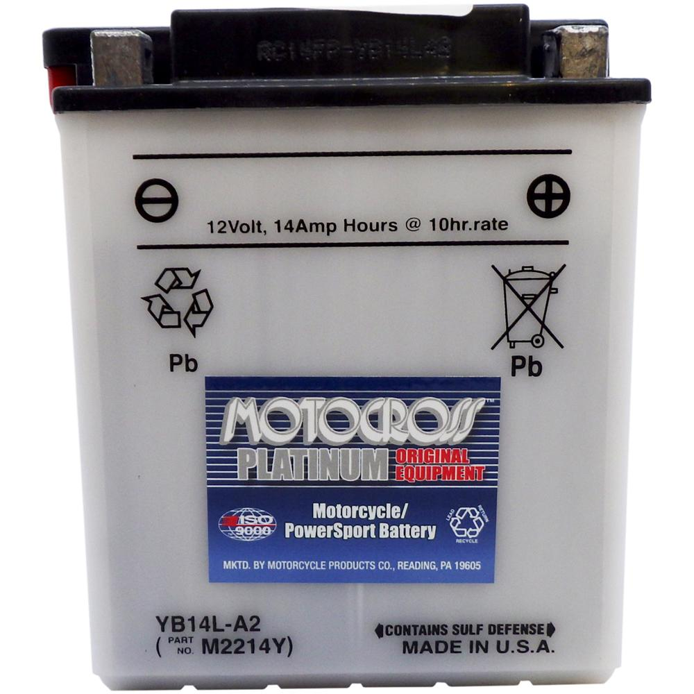 YB14L-A2 High Perf Conv 12V MC Battery, Dry Charged 14 AH, N/A CCA  M2214Y