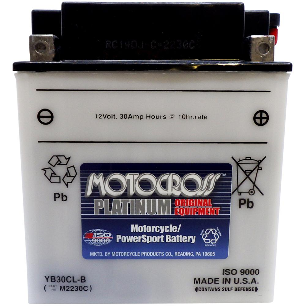 YB30CL-B High Perf Conv 12V MC Battery, Dry Charged 30 AH, M2230C