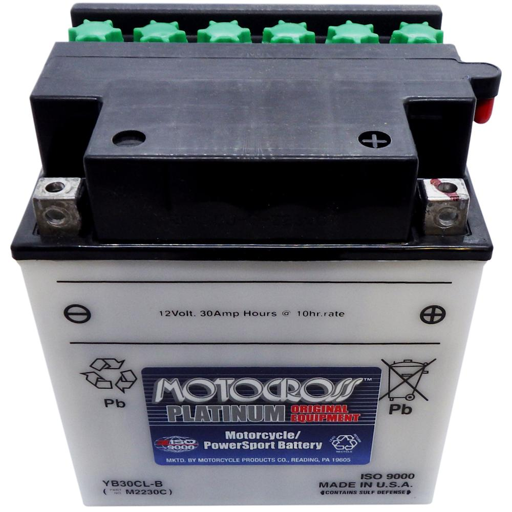 YB30CL-B High Perf Conv 12V MC Battery, Dry Charged 30 AH, N/A CCA  M2230C
