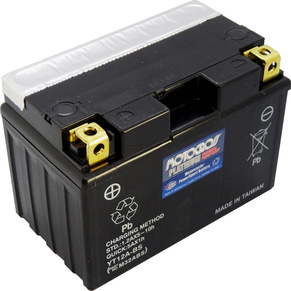 YT12A-BS 12V AGM MC Battery, Dry Charged w/Acid Pack 10 AH, 175 CCA  M32ABS