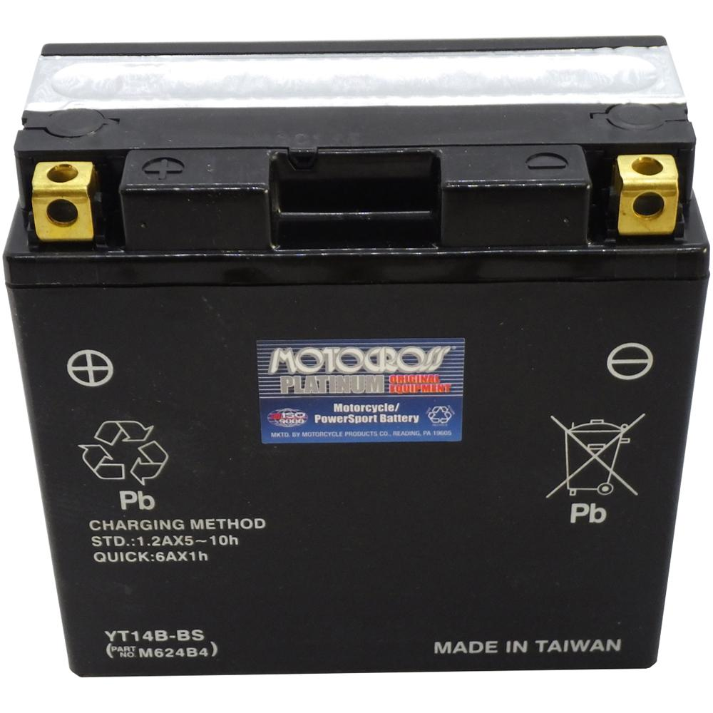 YT14B-BS 12V AGM MC Battery, Dry Charged w/Acid Pack 12 AH, 210 CCA  M624B4