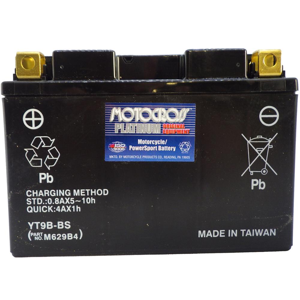 YT9B-BS 12V AGM MC Battery, Dry Charged w/Acid Pack 8 AH, 120 CCA  M629B4