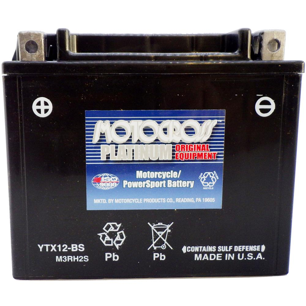 YTX12-BS 12V AGM MC Battery, Dry Charged w/Acid Pack 10 AH, 180 CCA  M3RH2S