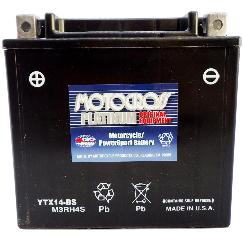 YTX14-BS 12V AGM MC Battery, Dry Charged w/Acid Pack 12 AH, 200 CCA  M3RH4S