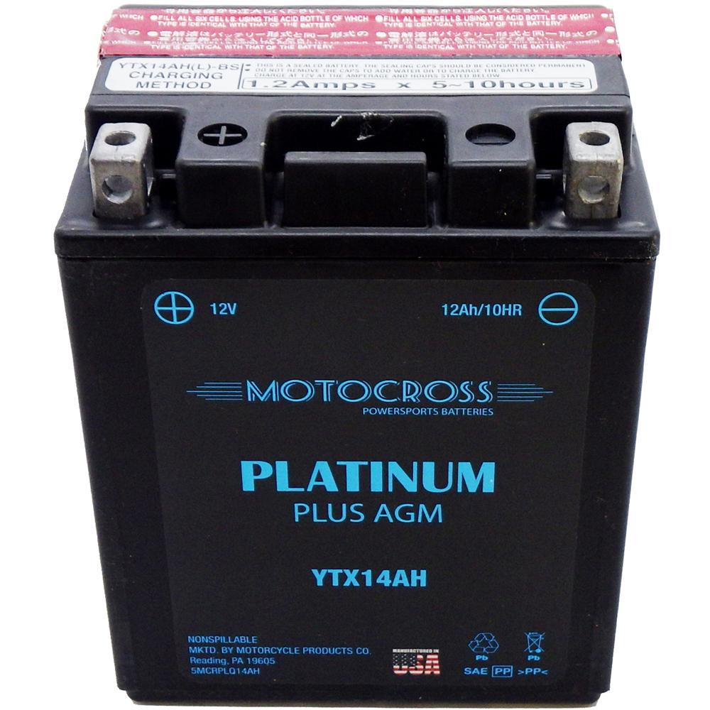 YTX14AH-BS High Performance 12V AGM MC Battery, Dry Charged w/Acid Pack 12 AH, 210 CCA  M62H4A