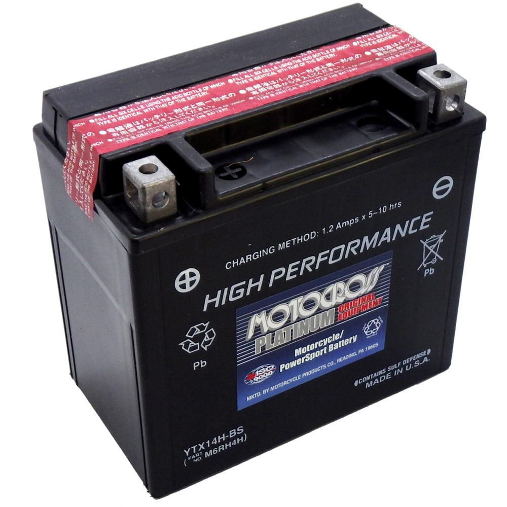YTX14H-BS High Performance 12V AGM MC Battery, Dry Charged w/Acid Pack 12 AH, 240 CCA  M6RH4H