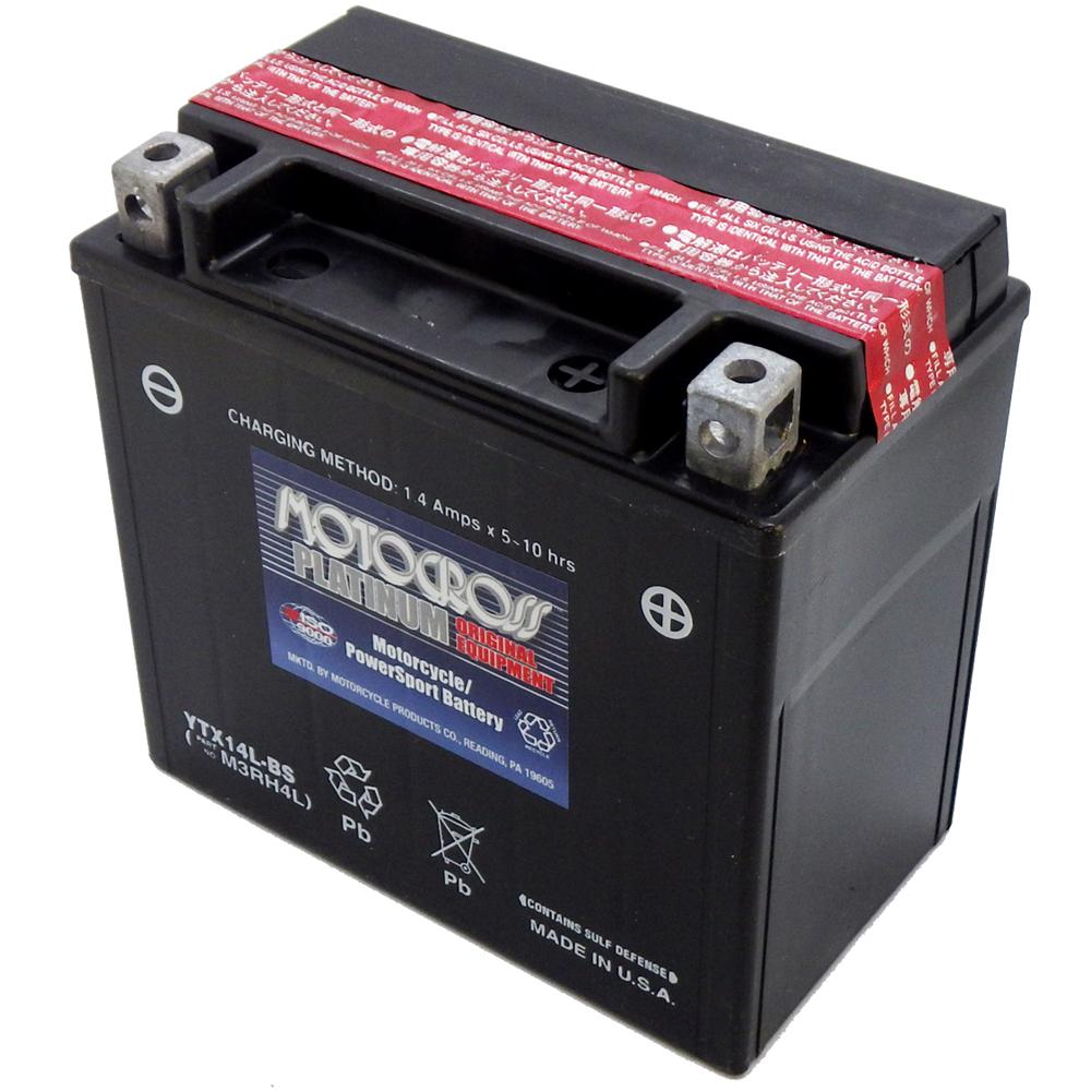 YTX14L-BS 12V AGM MC Battery, Dry Charged w/Acid Pack 12 AH, 200 CCA  M3RH4L