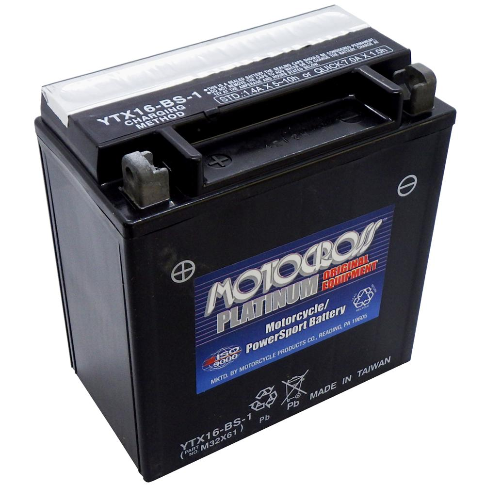 YTX16-BS-1 12V AGM MC Battery, Dry Charged w/Acid Pack 14 AH, 230 CCA  M32X61