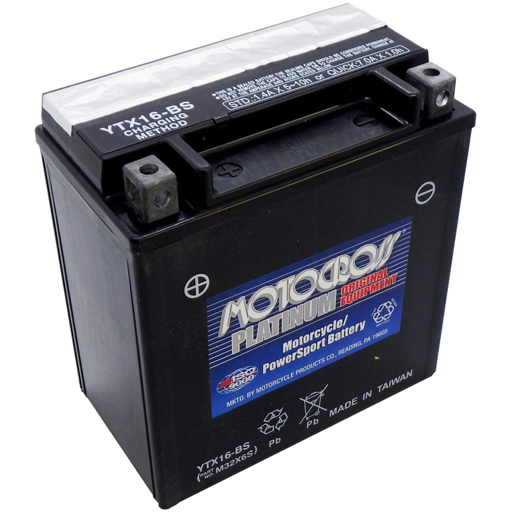 YTX16-BS 12V AGM MC Battery, Dry Charged w/Acid Pack 14 AH, 230 CCA  M32X6S