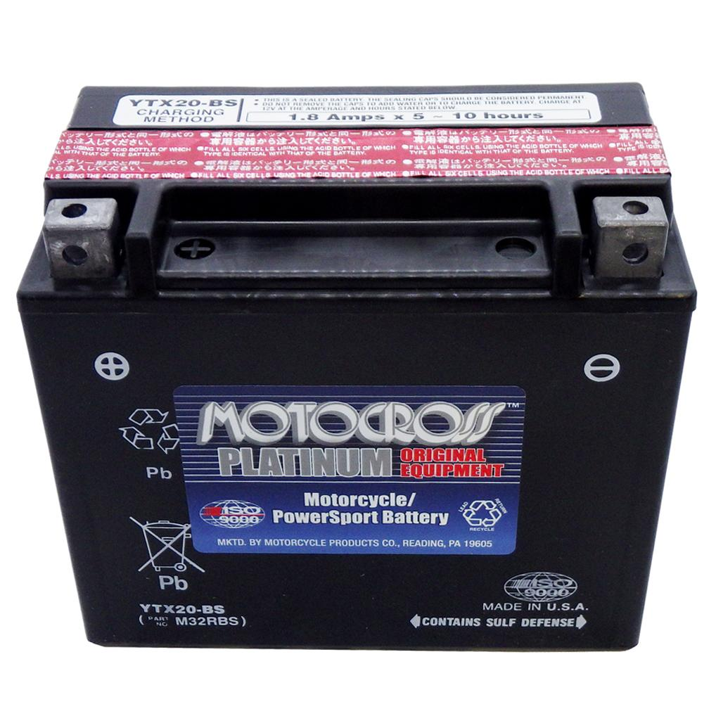 YTX20-BS 12V AGM MC Battery, Dry Charged w/Acid Pack 18 AH, 270 CCA  M32RBS