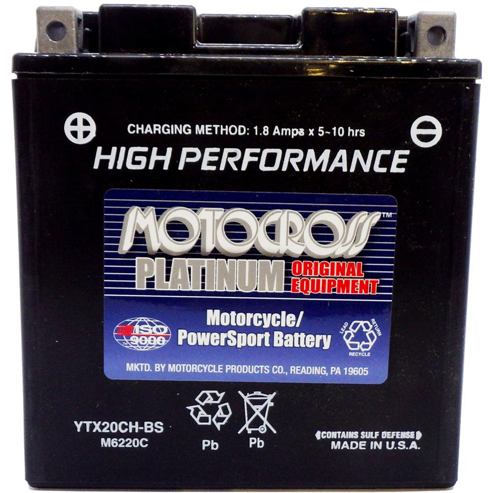 YTX20CH-BS High Performance 12V AGM MC Battery, Dry Charged w/Acid Pack 18 AH, 270 CCA  M6220C