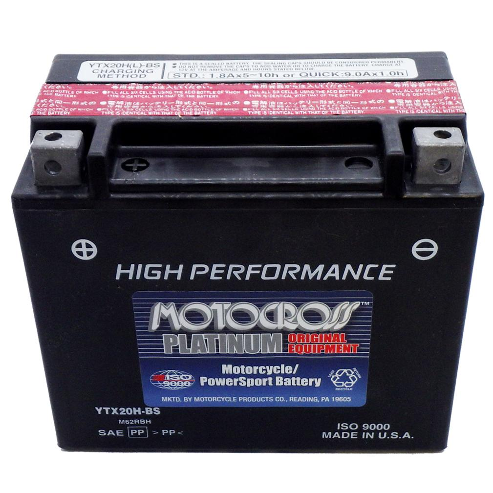 YTX20H-BS High Performance 12V AGM MC Battery, Dry Charged w/Acid Pack 18 AH, 310 CCA  M62RBH