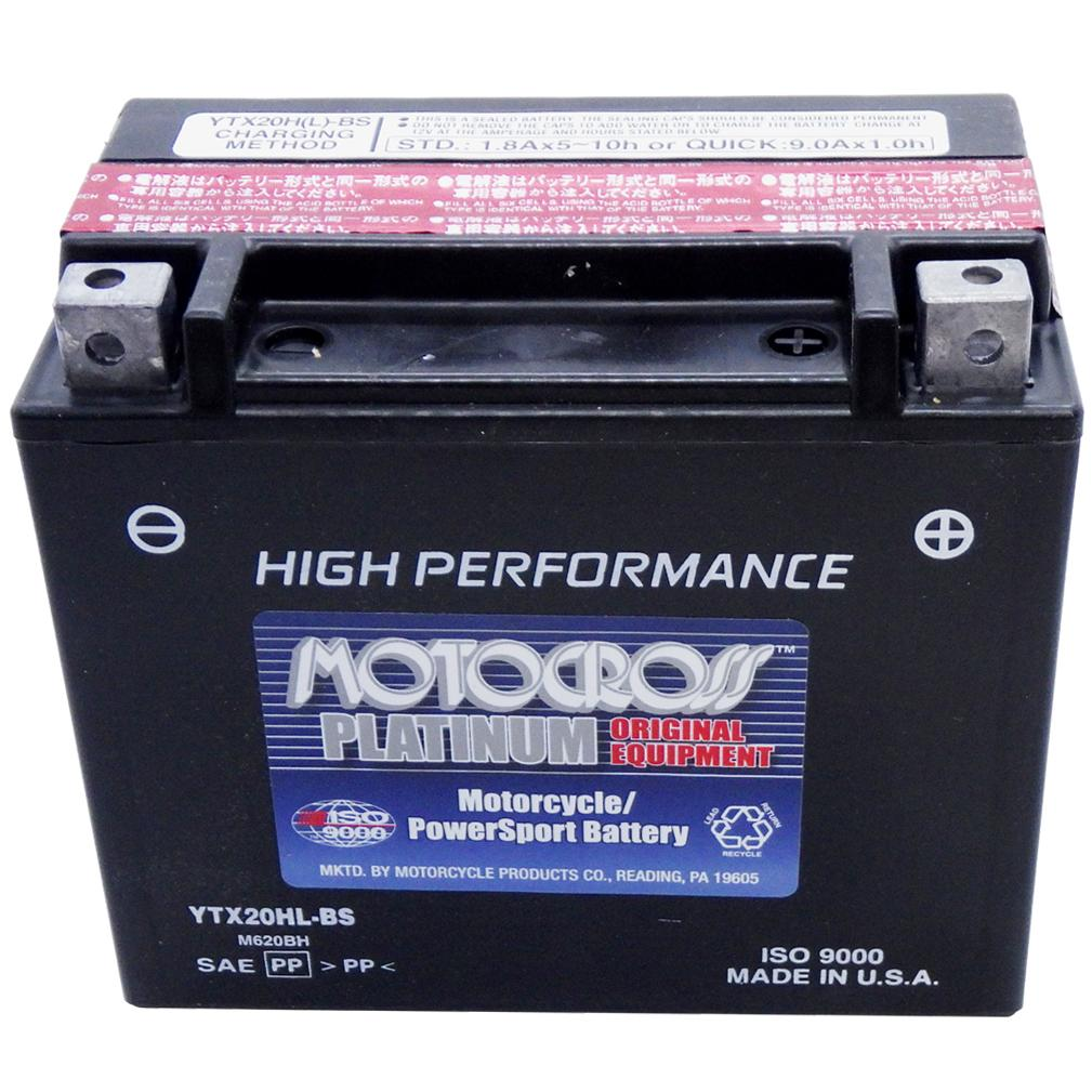 YTX20HL-BS High Performance 12V AGM MC Battery, Dry Charged w/Acid Pack 18 AH, 310 CCA  M620BH
