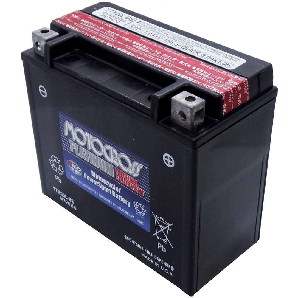 YTX20L-BS 12V AGM MC Battery, Dry Charged w/Acid Pack 18 AH, 270 CCA  M320BS