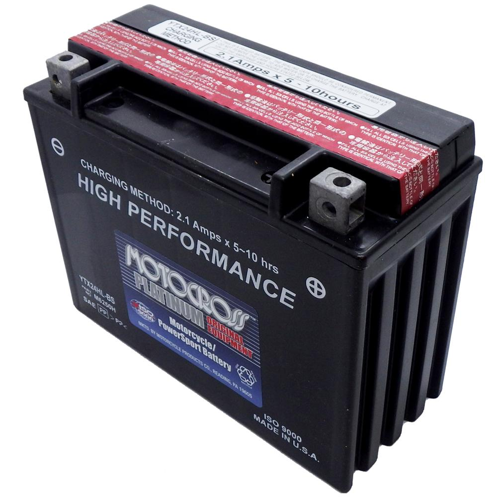 YTX24HL-BS High Performance 12V AGM MC Battery, Dry Charged w/Acid Pack 21 AH, 350 CCA  M6250H