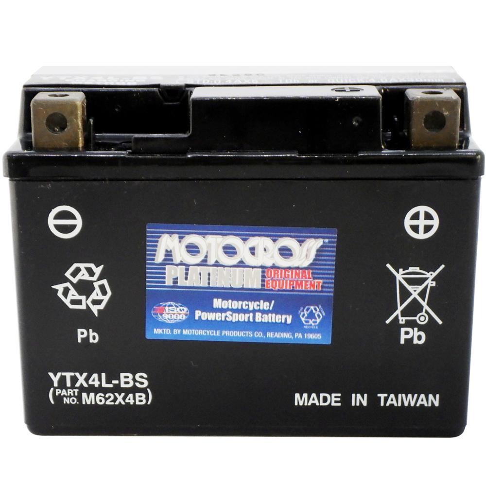 YTX4L-BS 12V AGM MC Battery, Dry Charged w/Acid Pack 3 AH, 50 CCA  M62X4B