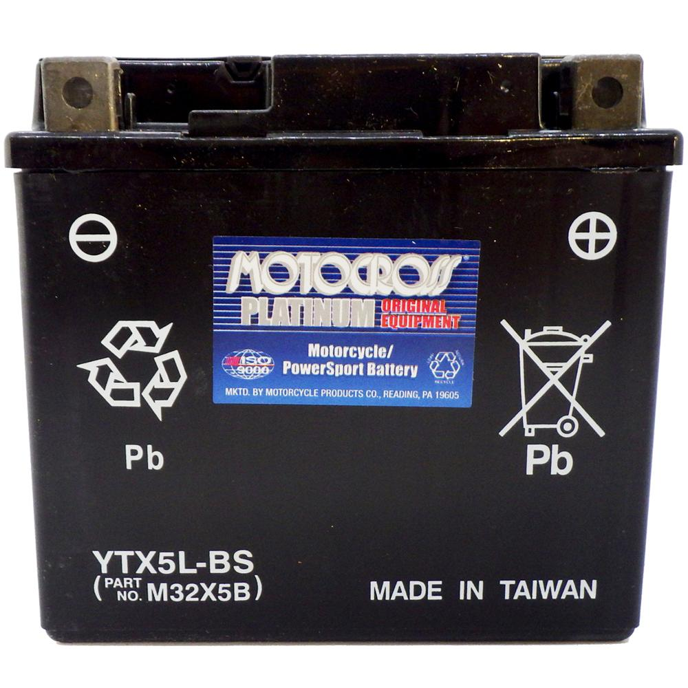 YTX5L-BS 12V AGM MC Battery, Dry Charged w/Acid Pack 4 AH, 80 CCA  M32X5B
