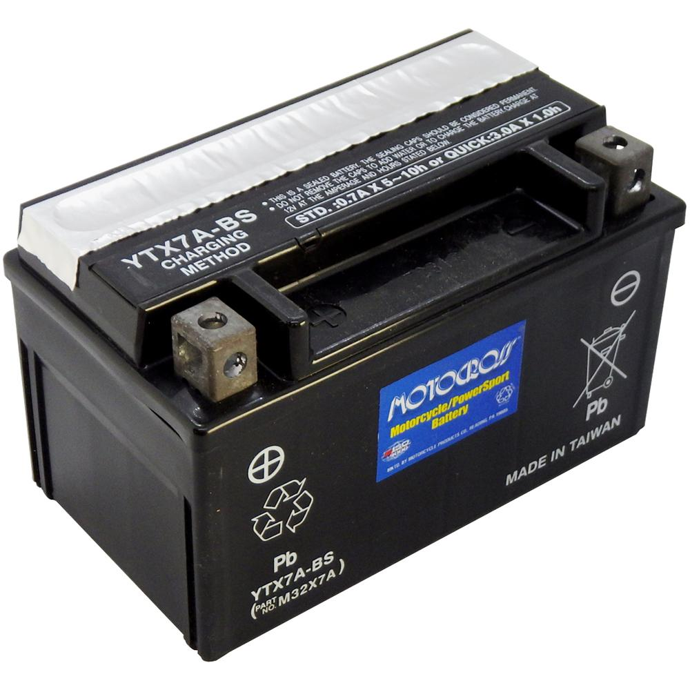 YTX7A-BS 12V AGM MC Battery, Dry Charged w/Acid Pack 6 AH, 105 CCA  M32X7A