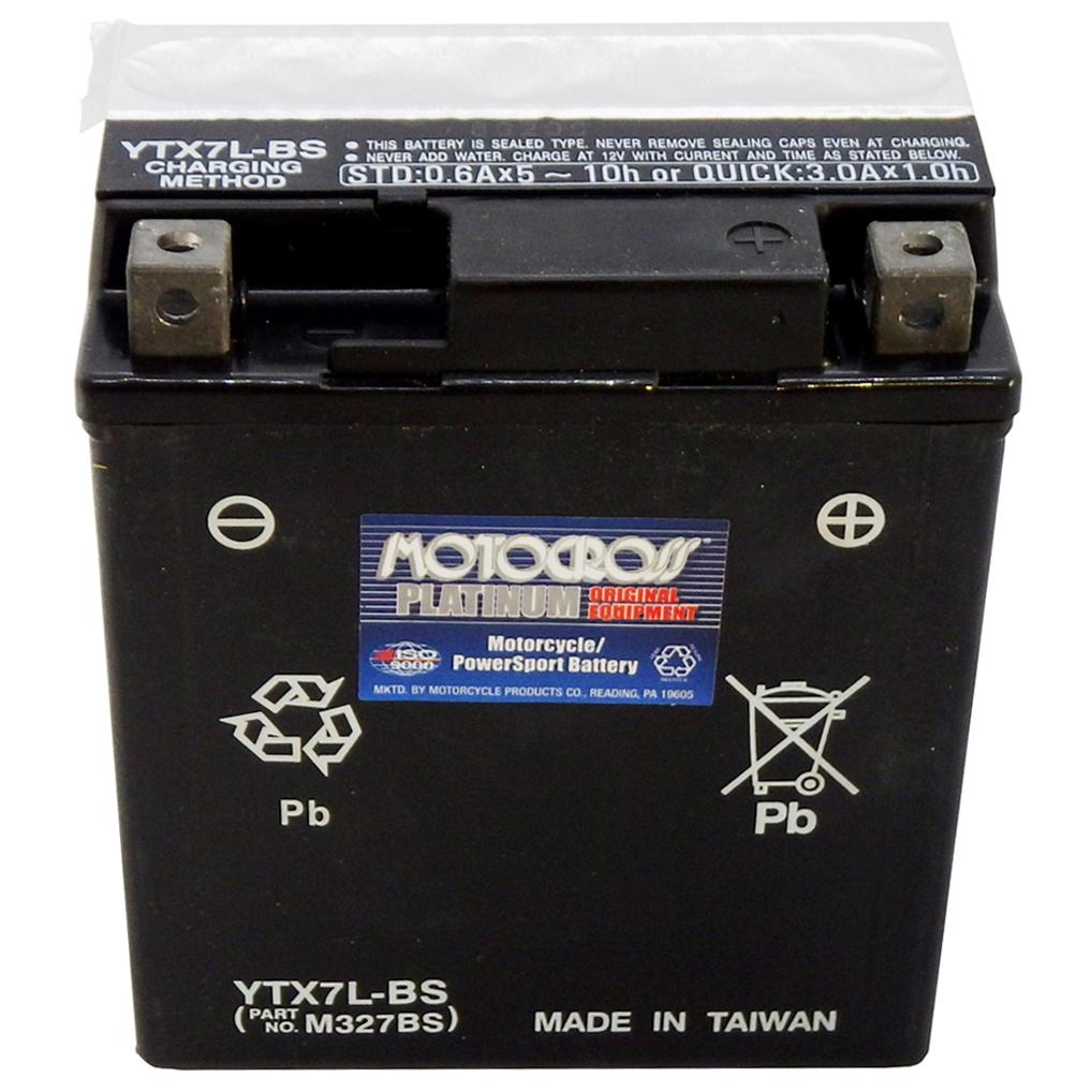 YTX7L-BS 12V AGM MC Battery, Dry Charged w/Acid Pack 6 AH, 100 CCA  M327BS