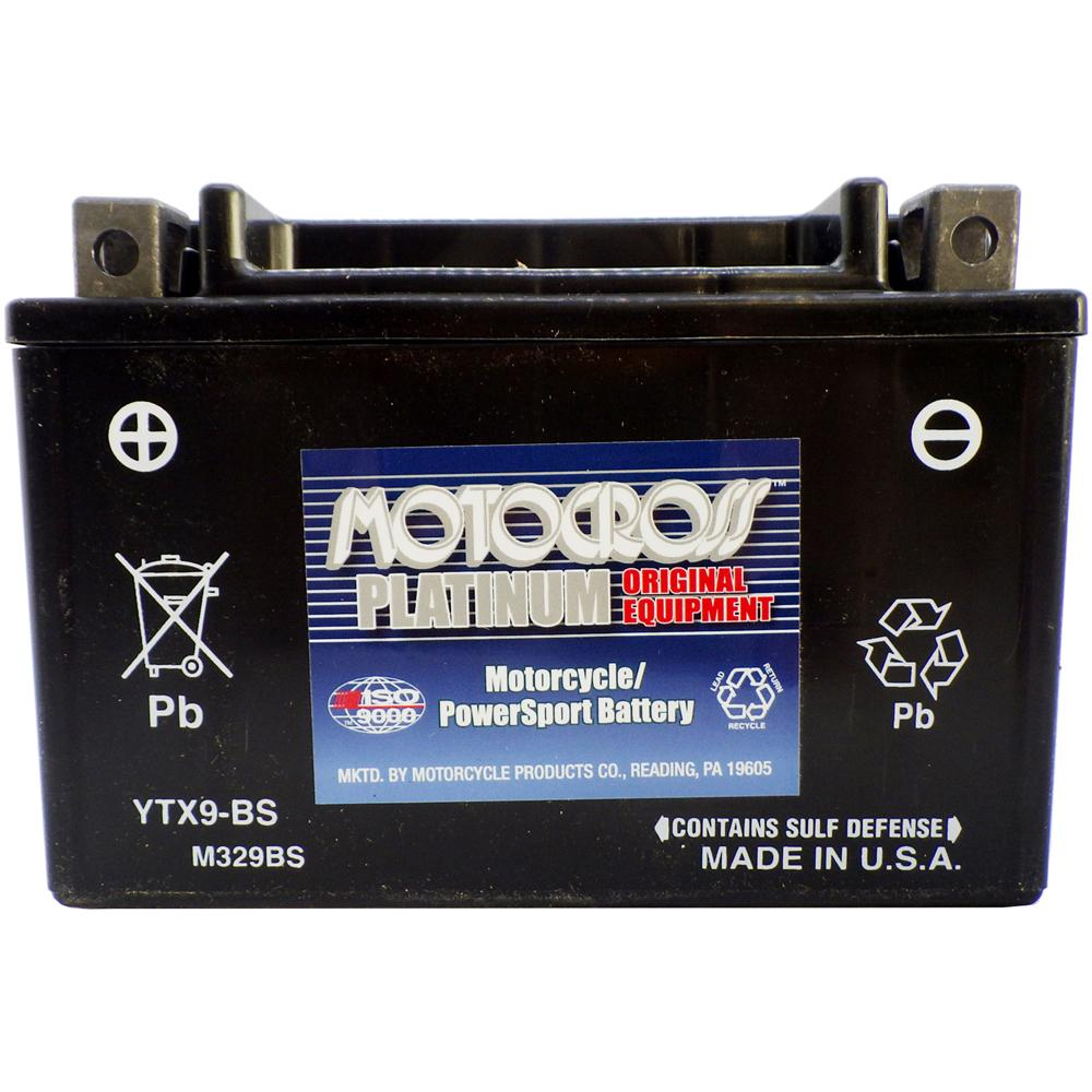 YTX9-BS 12V AGM MC Battery, Dry Charged w/Acid Pack 8 AH, 135 CCA  M329BS