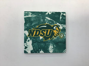 North Dakota State University Bison (Green and White Water Color) Coaster