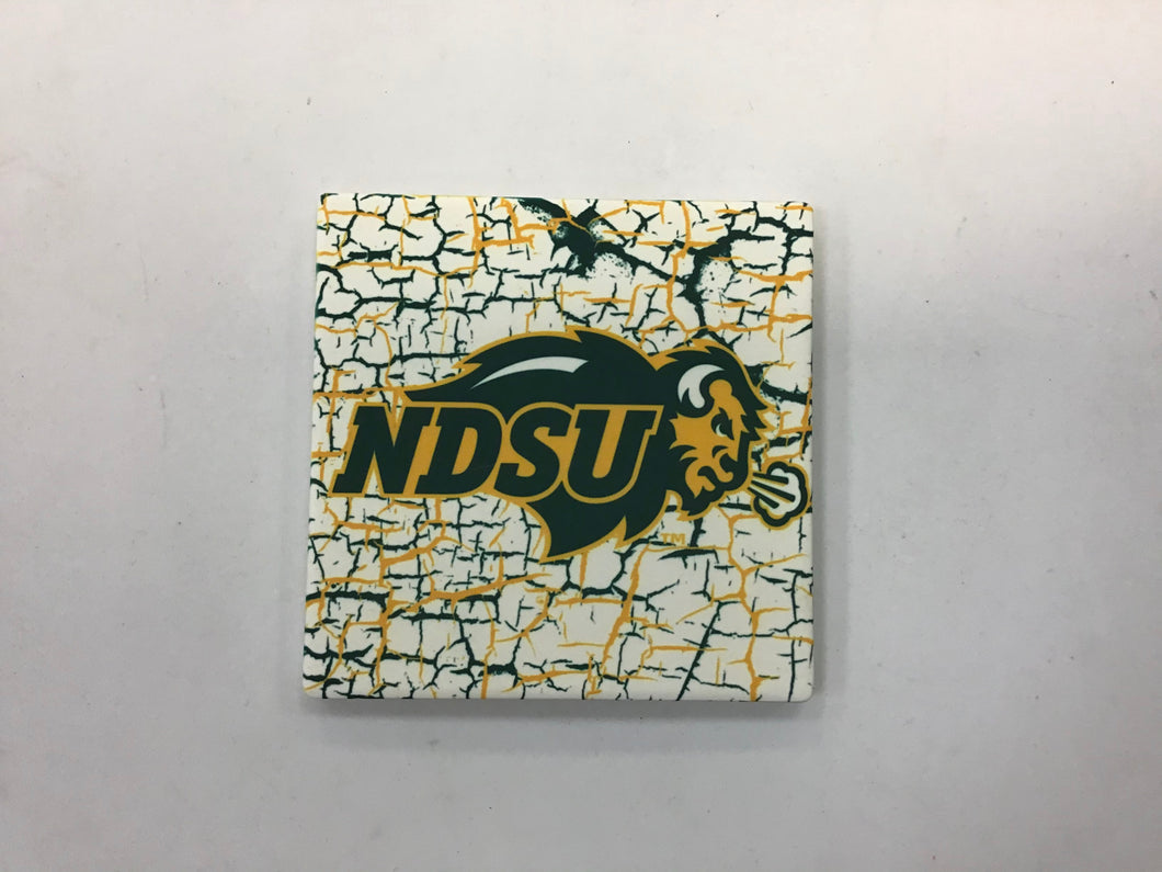 North Dakota State University Bison (Yellow and Green Crackle) Coaster