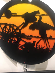 Country Scene 2 Piece Metal Wall Hanging Round