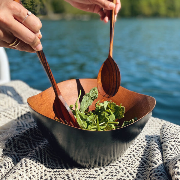 Charred Mahogany Wave Bowl + Salad Servers Set
