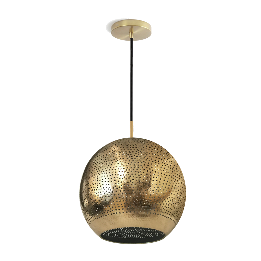 Perforated copper pendant light